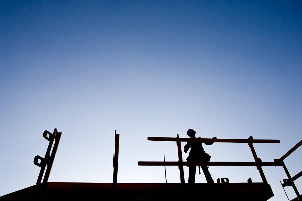 Carpenter at condo construction in Los Angele