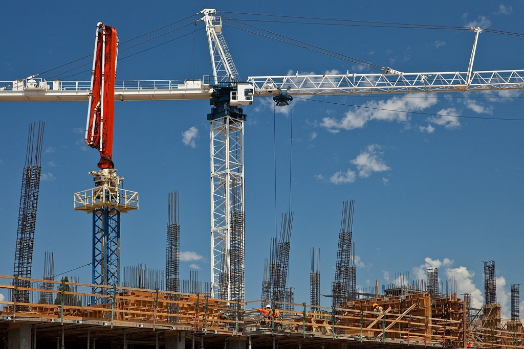 Construction crane at building site in Los Angeles
