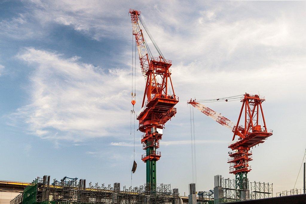 Cranes at construction site in Kamata, Tokyo, Japan