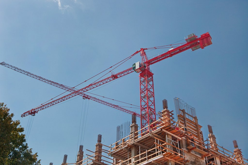 Cranes at construction site in Los Angeles