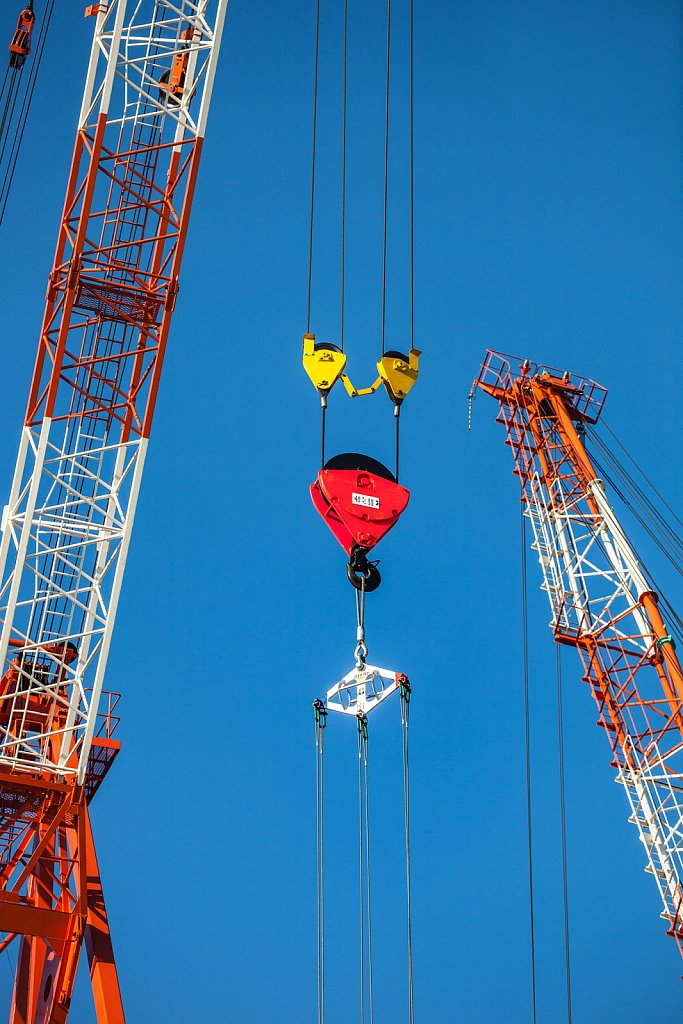 Cranes with pulley hook at construction site in Kamata, Tokyo, Japan