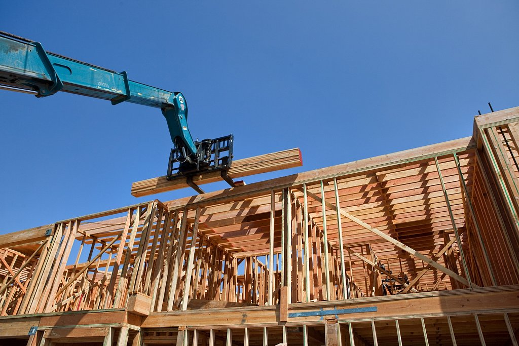Framing stage of condo construction