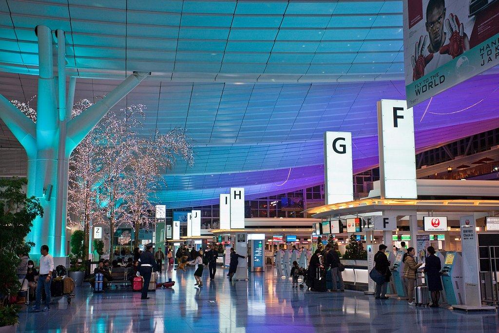 Interior Terminal 2 Departures at Haneda Airport, Tokyo, Japan