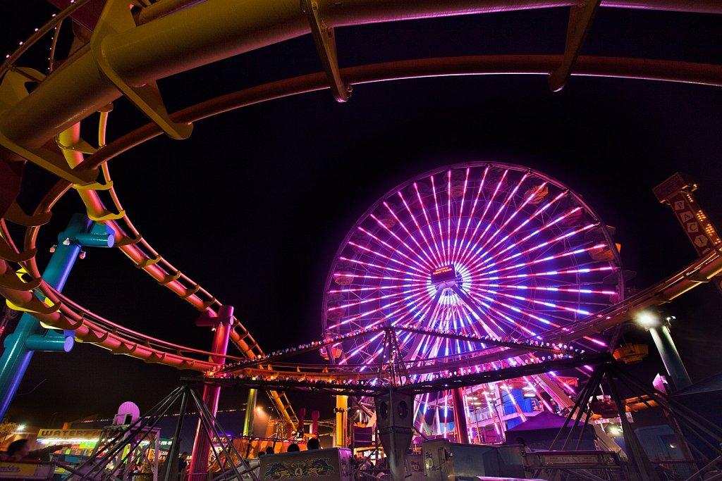 Amusement park at night in Santa Monica, California