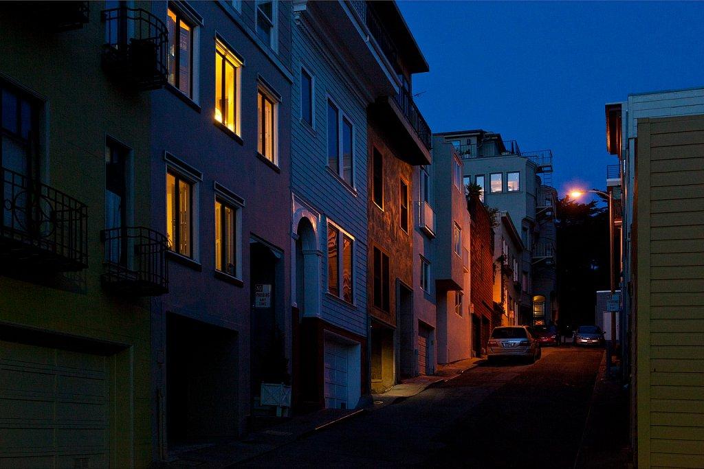 Hillside houses at dusk in San Francisco, California