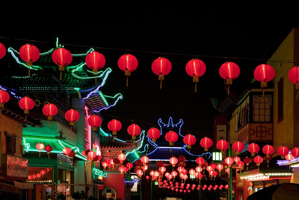 Lanterns and neon lights at night in Chinatown, Los Angeles, California