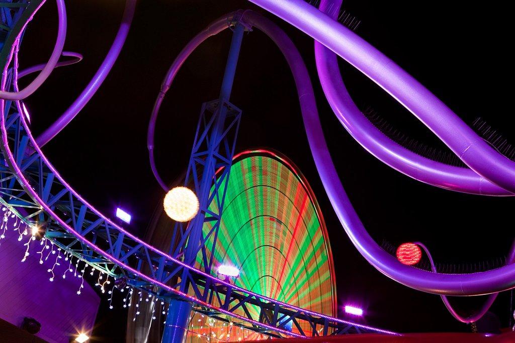 Ferris wheel blur at Santa Monica Pier, California