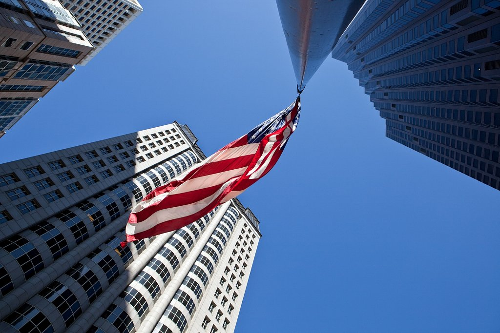 US Flag and buildings in San Francisco, California