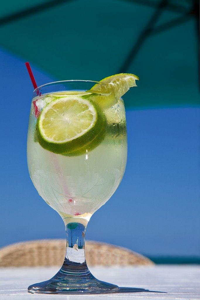 Drink at beach bar in San Juan, Puerto Rico