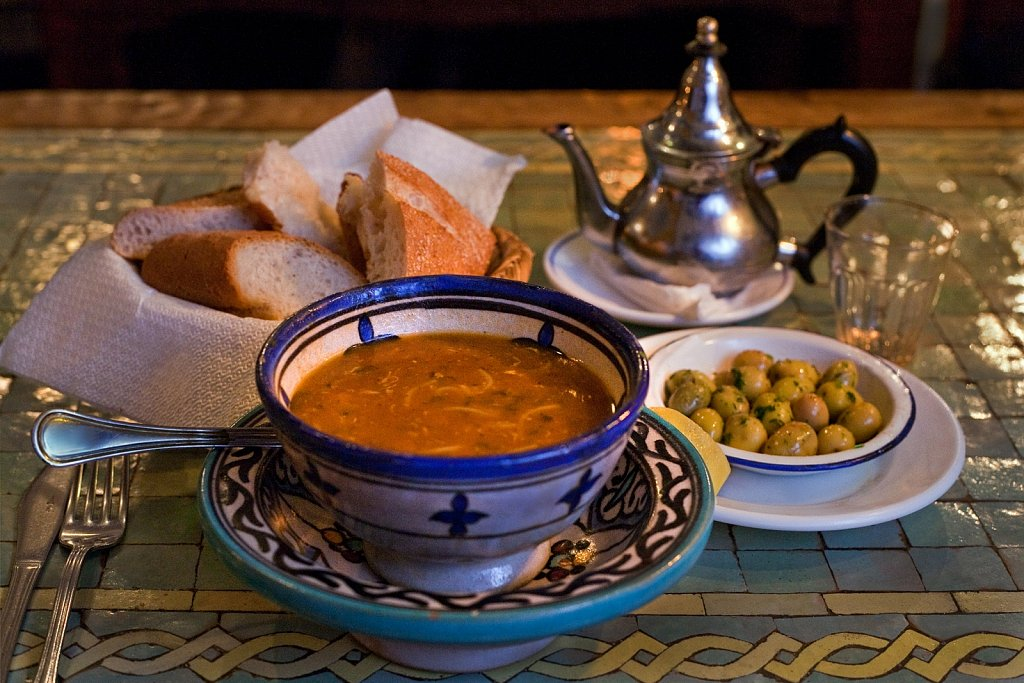 Harira, traditional soup, served at a restaurant in Chefchaouen, Morocco