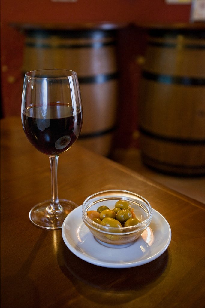 Red wine with olive tapas at a restaurant in Cordoba, Spain