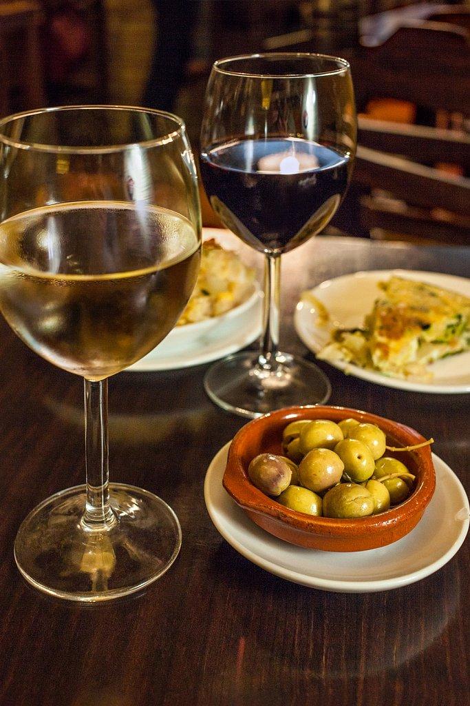 Wine with tapas in bar, Malaga, Spain