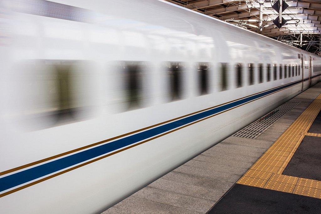 Motion blur of leaving Shinkansen, bullet train, in Tosu, Saga, Japan
