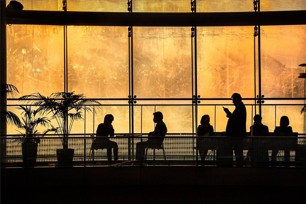 Passengers waiting for flights at Haneda Airport, Tokyo, Japan