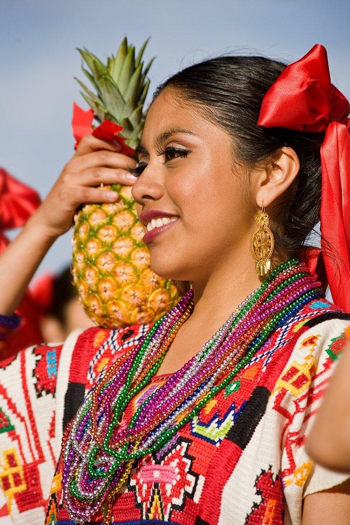 Mexican folk dancer doing the Oaxacan pina dance