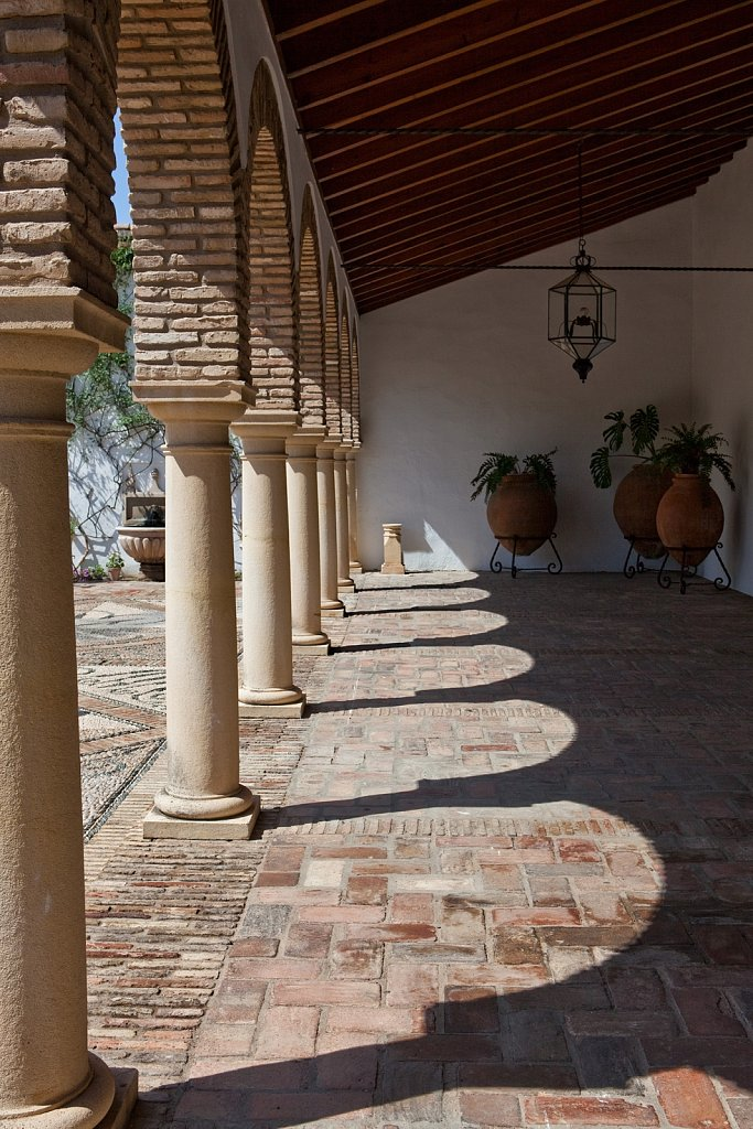 Arches and pillars at Palace of Marqueses de Viana in Old Quarter, Cordoba, Spain