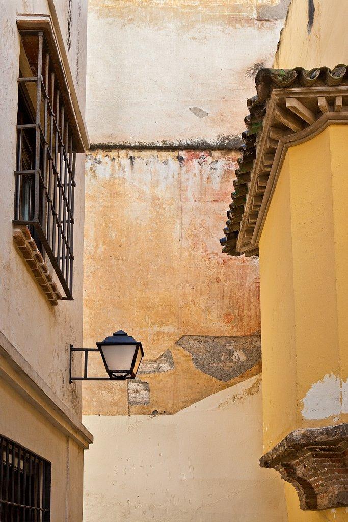 Colorful old pastel buildings, Old Quarter, Cordoba, Spain