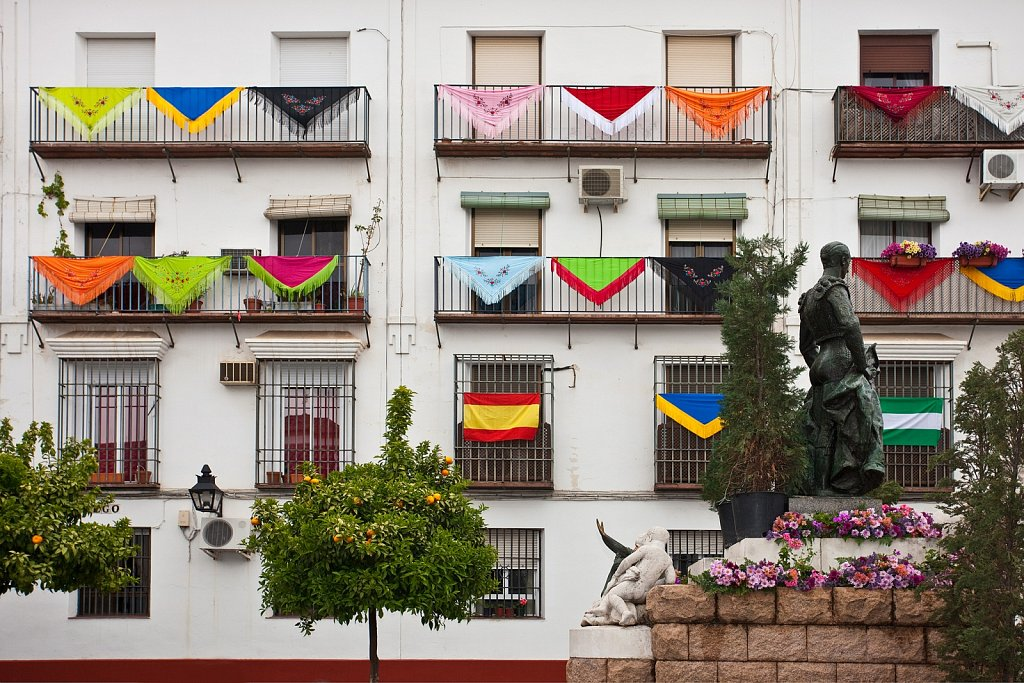 Colorful shawls decorate patios for May Crosses Festival, Cruces de Mayo in Cordoba, Spain