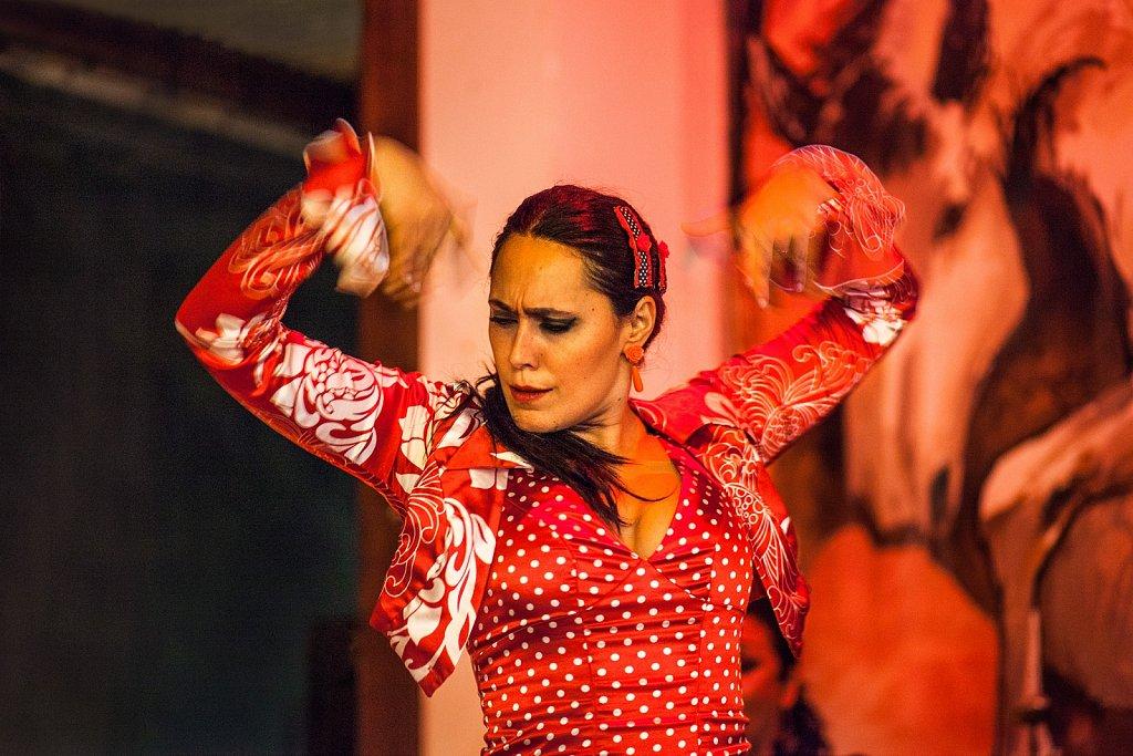 Flamenco dancer performs in Salobrena, Spain