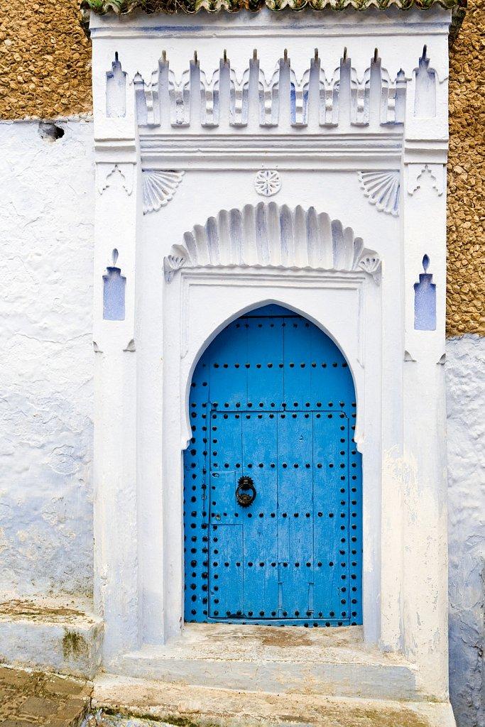 Blue doorway in Chefchaouen, Morocco