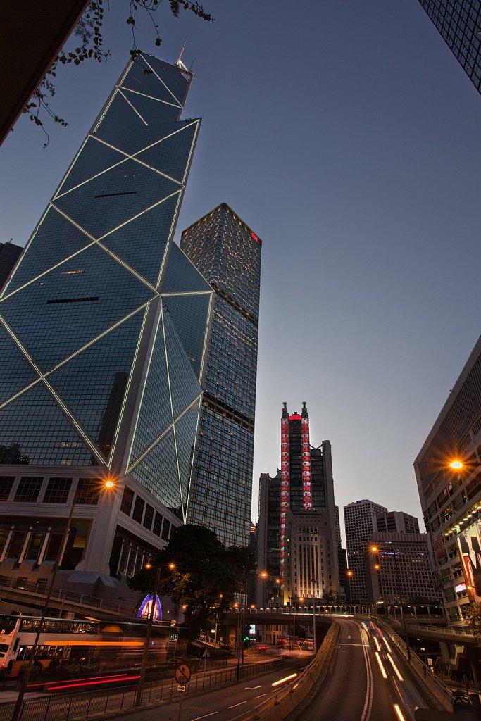 Contemporary architecture of high-rise buildings at dusk at Hong Kong Island, China