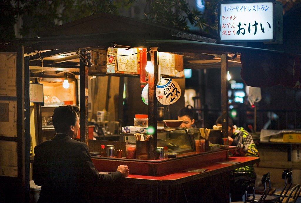 Yatai, mobile food stall, at night in Fukuoka, Kyushu, Japan