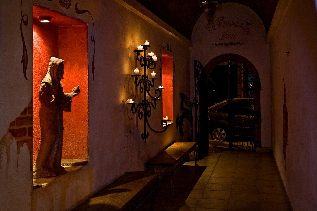 Hotel passageway at night in San Jose del Cabo, Mexico