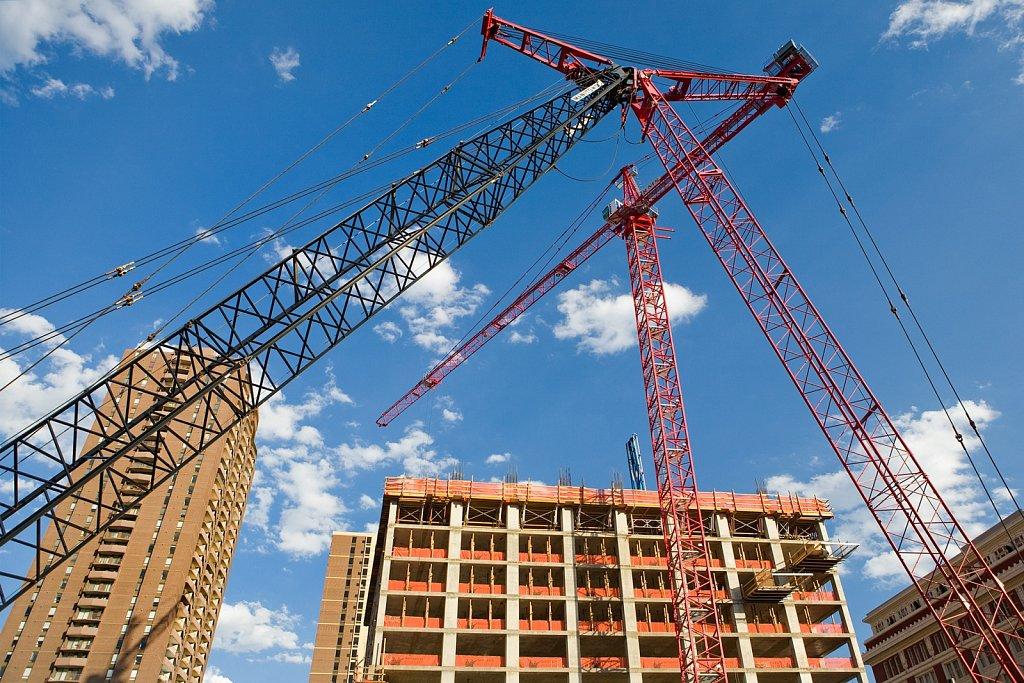 Construction site cranes in Denver, Colorado
