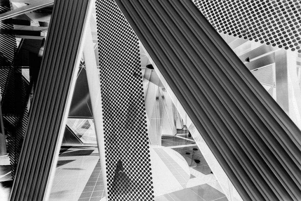 Architectural patterns invert in Shinjuku, Tokyo, Japan,