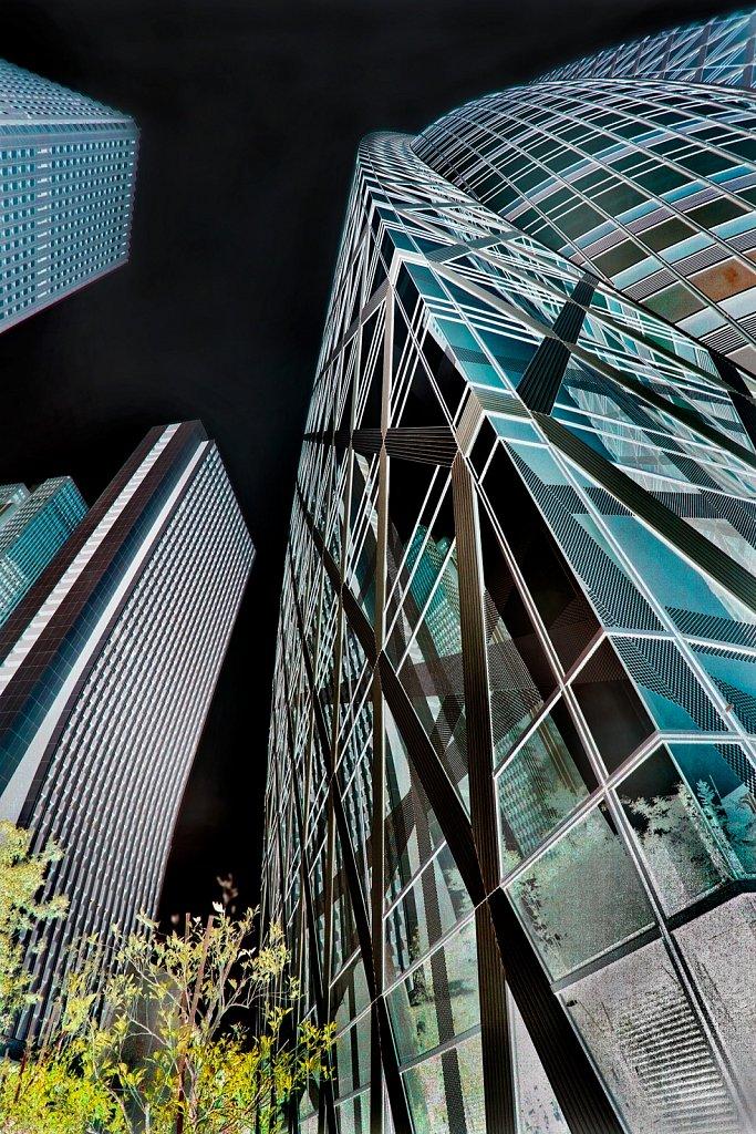 Architectural styles and modern buildings invert in Shinjuku, Tokyo, Japan