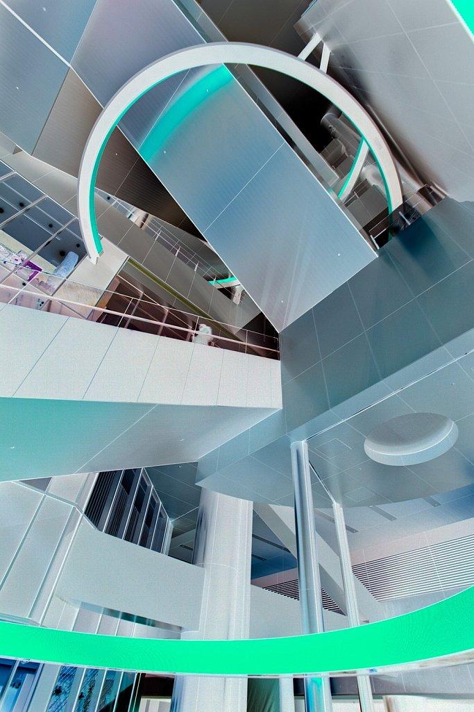 Invert of Hikarie commercial tower interior in Shibuya, Tokyo, Japan