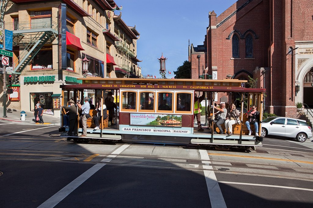 Cable car in Chinatown, San Francisco, California