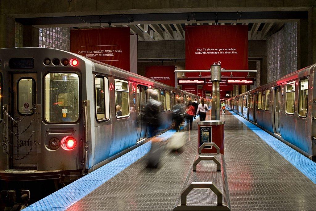 CTA station at O'hare Airport, Chicago