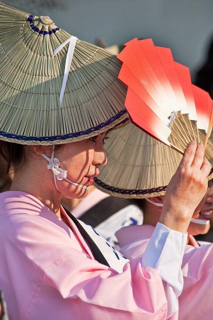 Japanese folk dancer at Nisei Week in Little Tokyo, Los Angeles, California