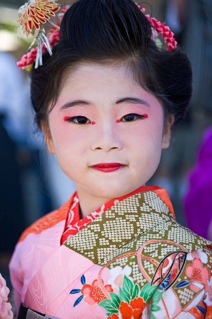 Young girl Japanese folk dancer