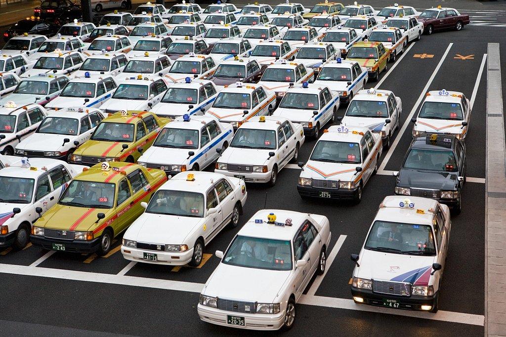 Taxi lot at train station in Sendai, Japan