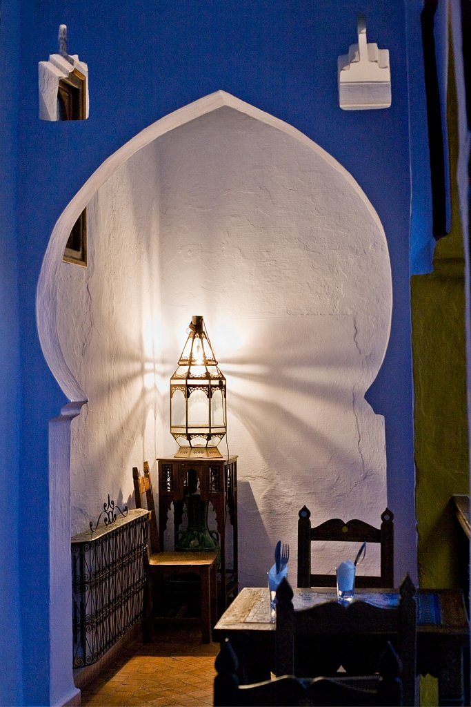 Hotel archway in Chefchaouen, Morocco