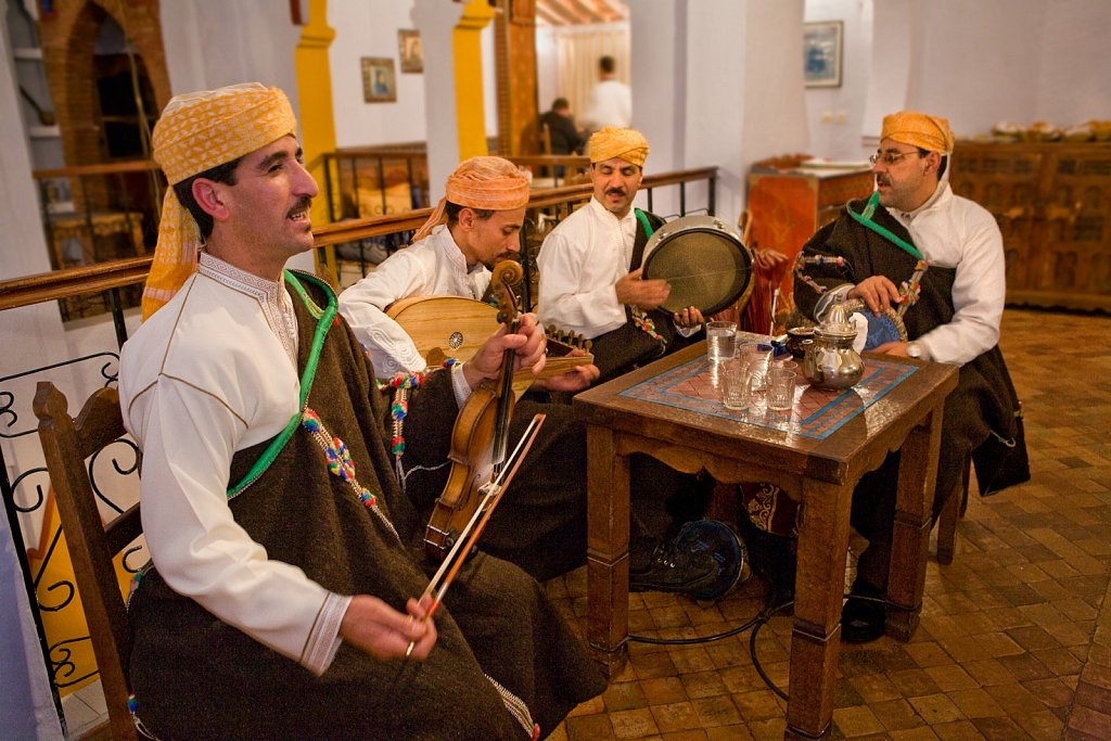 Musicians play traditional music in Chefchaouen, Morocco