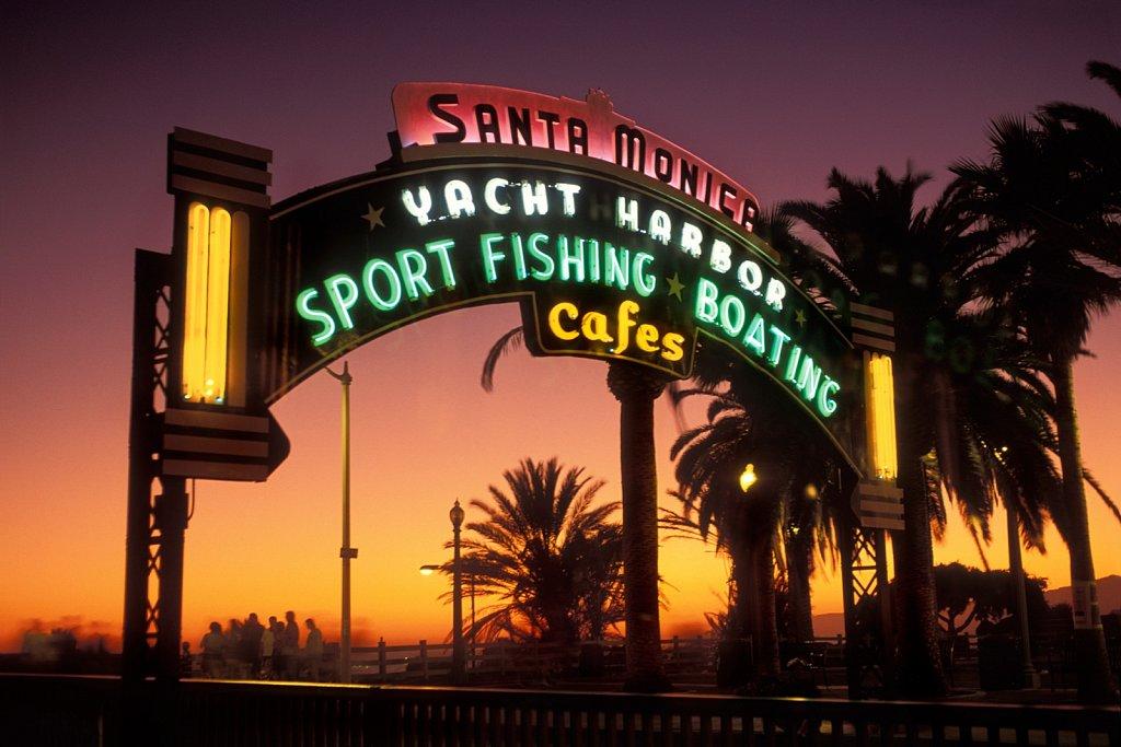 Historic entrance to Santa Monica Pier, California