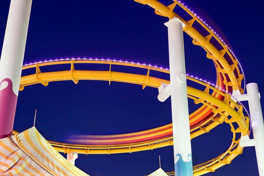 Roller coaster blur at Santa Monica Pier in California